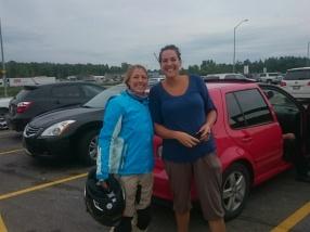 Franziska randomly meeting her friend Sarah at a motorway layby area.