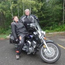 Neil testing Dawna's motorbike seat