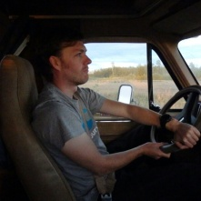 Neil driving an old Chevrolet RV