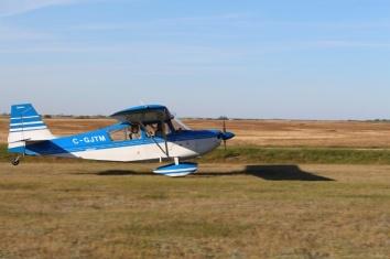 Neil returning from his aerobatic flight