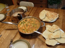 Curry dinner a la Judy and Franziska with homemade Naan bread