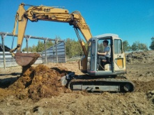 Neil learning how to use the excavator