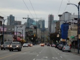 Entering downtown Vancouver