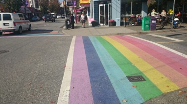 A pedestrian crossing in Vancouver's West End