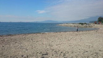 Franziska collecting shells in Vancouver