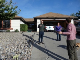 Walter White's house from Breaking Bad, talking to the owner.