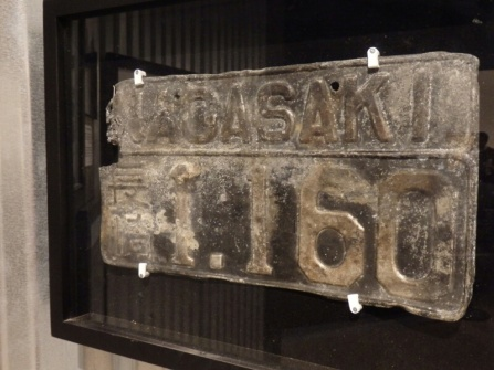 A burnt number plate from Nagasaki