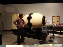 Fat Man, a replica of the bomb casing which was dropped on Nagasaki