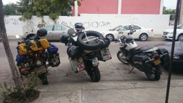 Mazatlan, Dave's bike, ours in the middle and Glen's on the right