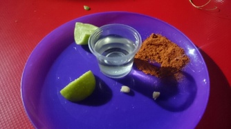 Mezcal Shot with lime and chilli powder