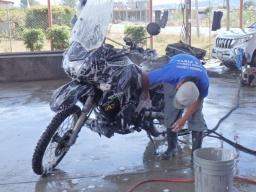 Daves bike getting cleaned