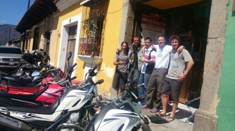 Moto Tours Guatemala. Left to right Philip, Dave, Jose, Neil, Leighton alltravelling south except Jose who's the manager at Moto Tours
