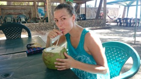 Drinking coconut water, El Salvador