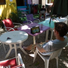 Neil watching Ireland against France rugby match at the Matilori Hostel, Samara beach