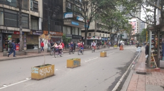 On Sunday half of the roads are blocked of for cyclists to use in Bogota