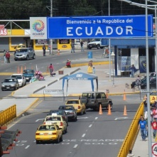 The boarder crossing from Colombia to Ecuador